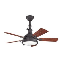 "Kichler - 44"" Hatteras Bay Patio 44"" Ceiling Fan Distressed Black - Kichler 44"" Hatteras Bay Patio Model KL-310101DBK in Distressed Black with Reversible ABS Outdoor Cherry/Medium Walnut Finished Blades."