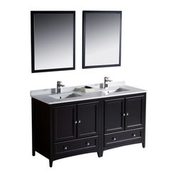 "Fresca - Oxford 60"" Espresso Double Sink Vanity Sillaro Brushed Nickel Faucet - Blending clean lines with classic wood, the Fresca Oxford Traditional Bathroom Vanity is a must-have for modern and traditional bathrooms alike.  The vanity frame itself features solid wood in a stunning espresso finish that?s sure to stand out in any bathroom and match all interiors.   Available in many different finishes and configurations."