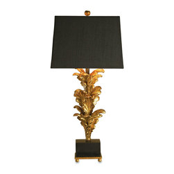 "Kathy Kuo Home - Renaissance Black Gold Leaf Acanthus Leaf Large Table Lamp- 40""H - A black linen shade with gold lining is the crowning glory on this large scale, elegant table lamp.  The base is crafted from reproductions of architectural elements which have been finished in gold leaf, while a black base and finial on top keep the gilded look grounded and  balanced."