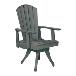 C.R. Plastic Products - C.R. Plastics Dining Arm Swivel Chair In Slate Grey - Can be used for residential or commercial use, Ergonomically designed, Heavy 78 gauge plastic lumber 12 used by competitors, All stainless steel hardware, No painting, No slivers, No Rot, Completely waterproof