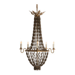 Kathy Kuo Home - Bilzen Hollywood Beaded Swag Wood Rustic Glamour 6 Light Chandelier - Wood goes glamorous as rustic turns romantic in this fusion of styles. Sleek beads of wood evoke shades of ebony as they swoop and shimmer in the six candelabra lights. Antique distressed gold finishes the base while six candle lights set the mood.