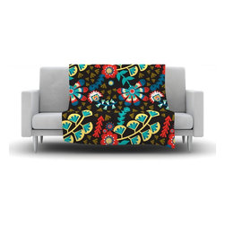 "Kess InHouse - Agnes Schugardt ""Wycinanka"" Black Abstract Fleece Blanket (80"" x 60"") - Now you can be warm AND cool, which isn't possible with a snuggie. This completely custom and one-of-a-kind Kess InHouse Fleece Throw Blanket is the perfect accent to your couch! This fleece will add so much flare draped on your sofa or draped on you. Also this fleece actually loves being washed, as it's machine washable with no image fading."