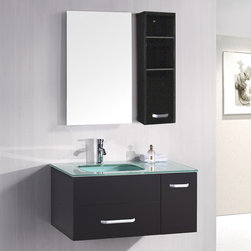 """Design Elements - Christine 35"""" Espresso Finish Single modern vanity set - Christine 35"""" Espresso Finish Single modern vanity set; Solid wood cabinet; Tempered glass countertop; One draw and one cabinet for ample storage; White porcelain drop in sink; Faucet not included.; Matching pop up drain; Matching framed mirror; Assembly Required?: No.; One year warranty on parts; Dimensions: Vanity - 36""""W x 20""""D x 20""""H; Mirror 20""""W x 31""""H ; Side cabinet 11""""W x 31""""H"""