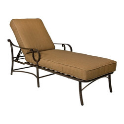 Woodard - Woodard Ridgecrest Cushion Adjustable Chaise Lounge Multicolor - 8P0470 - Shop for Chaise Lounges from Hayneedle.com! Just right for lounging or enjoying an afternoon nap the Woodard Ridgecrest Cushion Adjustable Chaise Lounge makes a great addition to your patio or poolside. Subtle curves and graceful lines highlight this chaise's smart design while the generous seat multi-position reclining back and extra-thick seat and back cushions take your comfort level up a few notches.Designed to withstand frequent use and the harshest elements the sturdy fully-welded aluminum frame comes in a choice of powder-coated finishes that will not rust peel or blister over the years. Made by Woodard this stylish chaise lounge is just what you need to update your outdoor space.Important NoticeThis item is custom-made to order which means production begins immediately upon receipt of each order. Because of this cancellations must be made via telephone to 1-800-351-5699 within 24 hours of order placement. Emails are not currently acceptable forms of cancellation. Thank you for your consideration in this matter.Woodard: Hand-crafted to Withstand the Test of TimeFor over 140 years Woodard craftsmen have designed and manufactured products loyal to the timeless art of quality furniture construction. Using the age-old art of hand-forming and the latest in high-tech manufacturing Woodard remains committed to creating products that will provide years of enjoyment.In the Aluminum Collections Woodard's trademark for excellence begins with a core of seamless virgin aluminum: the heaviest purest and strongest available. The wall thickness of Woodard frames surpasses the industry's most rigid standards. Cast aluminum furniture is constructed using only the highest grade aluminum ingots which are the purest and most resilient aluminum alloys available. These alloys strengthen the furniture and simultaneously render it malleable. The end result is a fusion of durability and beauty that places Woodard Aluminum furniture in a league of its own.Fabric Finish and Strap Features All fabric finish and straps are manufactured and applied with the legendary Woodard standard of excellence. Each collection offers a variety of frame finishes that seal in quality while providing color choices to suit any taste. Current finishing processes are monitored for thickness adhesion color match gloss rust-resistance and and proper curing. Fabrics go through extensive testing for durability and application as well as proper pattern weave and wear.Most Woodard furniture is assembled by experienced professionals before being shipped. That means you can enjoy your furniture immediately and with confidence.Together these elements set Woodard furniture apart from all others. When you purchase Woodard you purchase a history of quality and excellence and furniture that will last well into the future.
