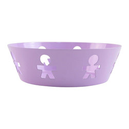 """Alessi - Alessi """"Girotondo"""" Basket Small - The international icon for kids encircles this small basket creating a delightful, upbeat place to store your precious things. Leave your keys, fruit or other sundries in this colorful steel bowl designed by King-Kong."""