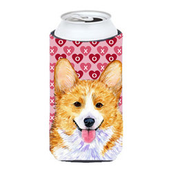 Caroline's Treasures - Corgi Hearts Love and Valentine's Day Portrait Tall Boy Koozie Hugger - Corgi Hearts Love and Valentine's Day Portrait Tall Boy Koozie Hugger Fits 22 oz. to 24 oz. cans or pint bottles. Great collapsible koozie for Energy Drinks or large Iced Tea beverages. Great to keep track of your beverage and add a bit of flair to a gathering. Match with one of the insulated coolers or coasters for a nice gift pack. Wash the hugger in your dishwasher or clothes washer. Design will not come off.