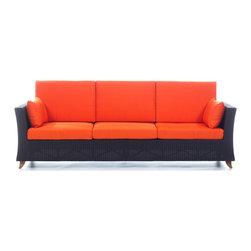 All Things Cedar - All Things Cedar PR90 Rattan Deep Seating Sofa, Orange - Comes with lined and zippered Deep Seat Cushion - available in 6 colors. Cushions made of weather resistant polyester fabric and 5.5 inches of high density foam. Heavy-gauge aluminum tube frame - no rust. Welded aluminum joints are ground and polished. UV inhibitors repel the damaging effects of the sun & harsh weather - maintanence free. Wicker strapping is synthetic resin and hand wrapped for a natural, softer feel.     Color:   deep brown/black webbing w/ solid teak legs  Dimensions:  92 x 33 x 34 LT in. (w x d x h)