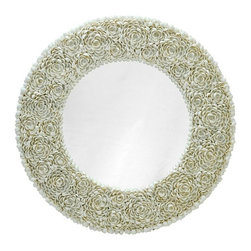 Round Clamrose Seashell Wall Mirror - Every clamrose seashell is hand set to create a pattern of flower petals giving this mirror a distinctive coastal look. Despite its tropical appearance this piece fits a variety of design styles due to its neutral white color.