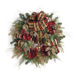 """Frontgate - Plaza Pre-decorated LED Cordless Christmas Wreath Christmas Decor - Cordless design offers limitless decorating options. Operates on six AA batteries (not included). Recommended for indoor use only. Arrives expertly assembled; may require some shaping after unpacking. Check another item off your """"to-do"""" list by decking the halls with our gorgeous Plaza Pre-decorated 32"""" LED Cordless Wreath. A full mix of lifelike evergreen boughs is generously embellished with a traditional palette of burgundy and gold ribbon, ornaments and festive accents, illuminated by battery-operated LED lights.  .  .  .  ."""