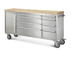 """Hyxion - Hyxion Tool Chests, 72"""" 8 Drawer Rolling Metal Tool Chest - Add storage space and functionality to your kitchen or garage work station with Hyxion's Tool Cabinets. With a modern aesthetic and the durability of stainless steel, these cabinets will help you stay organized at an unbelievable price. With a place for all your tools, Hyxion's Cabinets offer:"""