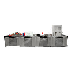 None - Florida Brands Grey 4-section Adjustable Trunk Organizer - Never lose anything again with this adjustable car trunk organizer from Florida Brands that features four compartments to store groceries, camping equipment, or other necessities. The durable liner is attached firmly to avoid items sliding around.