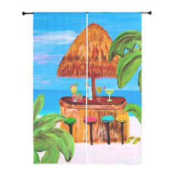 xmarc - Beach Art Sheer Curtains, Beach Tiki Bar - The windows have it with these sheer, decorative curtains. Romantic and flowing, these elegant chiffon window treatments finish a room with the perfect statement