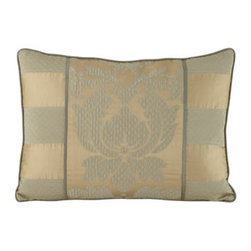 "Legacy Home - Legacy Home Pillow with Striped Sides & Reverse, 14"" x 20"" - We love the textures, tones, and simple details of ""Bouchon"" bed linens in sage and gold. Made in the USA of imported fabrics by Legacy Home. Dry clean. Damask and striped linens are rayon/polyester/acrylic/cotton. Corded duvet covers have a cotton/p..."