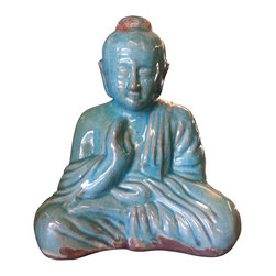 Sitting Buddha Statue - Turquoise Blue Finish - *** FREE SHIPPING !!! ***