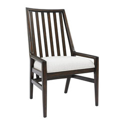 Stanley Furniture - Wood Back Chair With Fawn Fabric - The neutral, nubby Fawn fabric on the seat of the Wood Back Chair lends the design both dimension and flexibility.