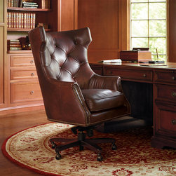 Frontgate - Sheffield Executive Chair - The Italian-made, five-position lockable raise, tilt, and swivel mechanism is the finest we've found. Swivel is covered by a 5-year manufacturer's warranty. Hand-tacked nailhead trim adds a handsome accent. Some assembly. Our handcrafted Sheffield Executive Chair provides the all-day comfort and support you need to stay focused and on-task. Inspired by a classic wing chair with an updated aesthetic, this tufted-back chair is made of hardwood solids and has a resilient, high-density foam core that is covered in supple, top-grain leather. . . . .