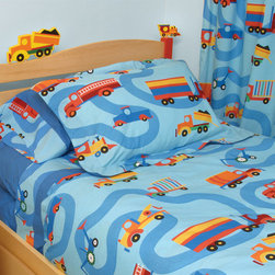 "Boys Like Trucks Twin Size Headboard - Vroom, vroom! Boys love playing with trucks, so make their rooms extra special with this truck-themed headboard. Featuring truck cutouts ""driving"" on top, it's made of natural-finish birch and can bolt to any standard twin bed frame."