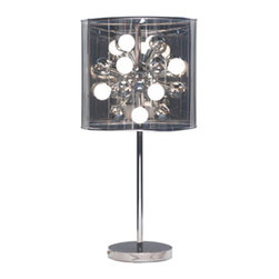 Film Negative Table Light - Instantly light up a small space with the Film Negative Table Light. Standing on a shimmering chrome base and surrounded by a translucent charcoal drum shade are 12 candelabra bulbs. Be amazed as these frosted bulbs light up the lamp's inner funky globe.