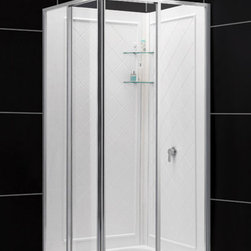 DreamLine - DreamLine Cornerview Framed Sliding Shower Enclosure - This kit combines a CORNERVIEW  shower enclosure with a coordinating SlimLine shower base. The CORNERVIEW shower enclosure is a perfect combination of solid construction and timeless design. The corner installation provides an effective solution to maximize space. A SlimLine shower base completes the transformation with a modern low profile design. DreamLine shower kits provide a complete solution to makeover a shower space. Items included: Cornerview Shower Enclosure, 36 in. x 36 in. Double Threshold Shower Base and QWALL-4 Shower Backwall KitOverall kit dimensions: 36 in. D x 36 in. W x 76 3/4 in. HCornerview Shower Enclosure:,  34 1/2 in. W x 34 1/2 in. D x 72 in. H ,  5/32 (4 mm) clear tempered glass,  Chrome hardware finish,  Framed glass design,  Out-of-plumb installation adjustability: Up to 1/2 in. per side,  Corner-opening shower enclosure design,  Two sliding panels meet to create corner walk through, flanked by two stationary panels,  Full length magnetic door latch,  Anodized aluminum wall profiles and guide rails,  Designed to be installed against finished walls (not directly to studs),  Door opening: 20 3/4 in.,  Stationary panel: 16 3/4 in.,  Return panel: 16 3/4 in.,  Material: Tempered Glass, Aluminum,  Tempered glass ANSI certified36 in. x 36 in. Double Threshold Shower Base:,  High quality scratch and stain resistant acrylic,  Slip-resistant textured floor for safe showering,  Integrated tile flange for easy installation and waterproofing,  Fiberglass reinforcement for durability,  cUPC certified,  Drain not includedQWALL-4 Shower Backwall Kit:,  Color: White,  Assembly required,  Designed to be installed over existing finished surface (not directly against studs),  Includes 2 glass corner shelves,  Attractive tile pattern,  Unique water tight connection of panels ,  Durable acrylic/ABS construction,  Trim-to-Size design for shower enclosures w/ wall dimensions 30 in. to 40 in. from corner,  Must be trimmed during installation Product Warranty:,  Shower Enclosure: Limited 5 (five) year manufacturer warranty ,  Shower Base: Limited lifetime manufacturer warranty,  Shower Backwalls: Limited 1 (one) year manufacturer warranty