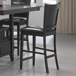 Coaster - Jaden Collection Bar Stool in Cappuccino, Set of 2 - This simple and stylish counter height dining collection features a square table base with center storage cabinet and wine glass holders. Chairs are wrapped in a durable black leather-like vinyl. Crafted from select hardwoods and okume veneers. Finished in a rich cappuccino.