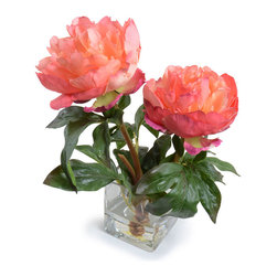 """New Growth Designs - Peony Arrangement - Two faux Peony with beautiful Salmon-rose blooms have a """"fresh cut"""" appearance in a mouth blown 3"""" glass cube. This small realistic Peony flower vase is assembled in the US, and measures approximately 8"""" long x 6"""" wide x11"""" high."""
