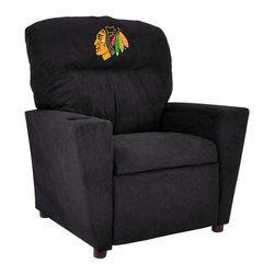 Imperial International - Chicago Blackhawks NHL Tween Recliner - Check out this awesome Tween Recliner. It's the perfect size for those Tween years. Now the whole family can join in and watch the game in their favorite chair! It has a great contemporary design with team color microfiber all over, and a cup holder. The team logo is embroidered and sewn on the headrest. It's perfect for your Man Cave, Game Room, Garage or Basement.
