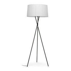"""Wholesale Interiors - Throop White Modern Tripod Floor Lamp - The tried-and-true tripod stands center stage in the design of our Throop Floor Lamp. This classic base is made with black powder-coated metal and supports a white fabric shade. Powering your lamp is a black power cord with foot switch, standard American 2-prong polarized plug, and UL listed socket. You will need a 60W max bulb, which is not included with purchase. To clean, wipe with a dry cloth. Made in China, this designer floor lamp is also offered as a table lamp (sold separately). Assembly is required. Dimensions: 69.5 inches high x 24 inches wide x 24 inches deep. Cord length: 93""""."""