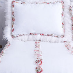 White Pillow Sham with Colorful Rosettes & Feather Trim - Snow white pillow shams trimmed with pastel chiffon rosettes and pure white feathers. Rosettes have splashes of pink yellow and green hues. This stunning garden-like sham will enhance your bedroom. To get the full fanciful floral garden look take a peek at Cloud Hunter's matching Confetti duvet cover.