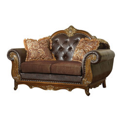 ACME - Acme Dorothea Leather Upholstered Loveseat in Cherry - Classic French style button tufted with rolled arm, Dorothea leather upholstered loveseat by Acme Furniture with Queen Anne leg adorned with rich carving style design and stone, complimented occasional set all finished by Cherry finish. With two pillows included.
