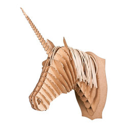 Zeckos - Cardboard Safari Medium Merlin Jr. Brown Unicorn Head Wall Sculpture - Cardboard Safari wall sculptures are an animal friendly, environmentally kind way to add a masculine touch to your decor. Made of recycled cardboard, each Cardboard Safari sculpture is laser cut for precision fit and easy assembly using slotted construction. They ship flat and assemble easily, if you use the included detailed instructions, or check out the assembly instructional videos on YouTube. This medium sized brown 'Merlin Jr.' unicorn head sculpture is a great focal point decor piece for any room. It measures 13 1/2 inches tall, 5 1/2 inches wide and 10 inches deep, once assembled. The brown cardboard looks great by itself, but also allows you to show off your creative side, by adding paint, markers, glitter or wrapping paper to give Merlin Jr. a touch of color. He makes a great gift for friends and family.