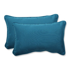 Pillow Perfect - Spectrum Blue Rectangular Throw Pillow with Sunbrella Fabric, Set of 2 - - This set of rectangular throw pillows is covered in 100-percent solution dyed acrylic Sunbrella fabric, which provides the perfect balance of worry-free performance and fashion. These Sunbrella pillows will retain their color and strength, even through intense exposure to sun and rain. Resists mildew, rot, chlorine and fading, so you can enjoy these pillows for many seasons to come. These pillows are as soft and luxurious as they are durable. Filled with a plush 100-percent polyester fiber filling, these pillows bring the comfort of indoors, out.  - Pillow Care and Cleaning: Sunbrella fabric should be cleaned regularly. Brush off any loose dirt and wash with a mild soap and lukewarm water solution (less than 100�F/38�C). For stubborn stains and mildew, wash with a solution of 1 cup (236ml) of bleach and 0.25 cup (59ml) of mild soap per gallon (3.8L) of water. Rinse thoroughly to remove soap. Allow fabric to air dry  - Pillows with outdoor 100-percent acrylic Sunbrella fabric - colors stay strong and vibrant  - Worry Free - resists mildew, stains, chlorine and fading; Suitable for indoor or outdoor use  - Set includes two pillows filled with a plush 100-percent polyester fiber  - Easy to clean - use mild soap with lukewarm water, rinse, and air dry. Bleach cleanable for mildew or tougher stains  - 5-Year Fabric Limited Warranty - withstands years of normal exposure to sun and rain  - Made in USA  - Secondary Colors: Peacock Pillow Perfect - 547442