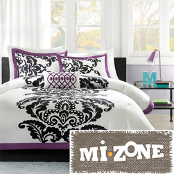 Mi-Zone - MiZone Capri 4-piece Comforter Set - Breathe new life into your bedroom with this stylish four-piece comforter set. Featuring a black-and-purple damask design on a white background,this set gives your room a modern flair. The coordinating shams and throw pillow add extra style.