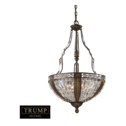 ELK - ELK 2495/6 Pendant - Millwood Reflects Formal Elegance And Upscale Design.  Delicate Leaf Motifs And Detailed Ironwork Compliment The Distinct Crystal Pieces.  The Antique Bronze Finish With Gold Highlights Accent The Intricate Detail And Classic Appeal Of The Collection.
