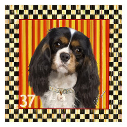 POPPA ARTZEE - Tri-Color Cavalier Dog Pillow - Adorable dog paintings silk screened onto Pillows with vibrantly colored backgrounds.  These playful paintings are created by Scottsdale artist, Sal Romano.  Pillow Cover fabric is a durable finely woven washable polyester canvas with animal image on one side and solid black back with zipper and black piping all around.  Pillow insert is filled with polyester cluster fiber.