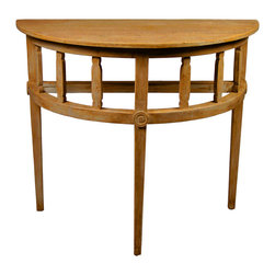 Demilune Table with a Medium Brown Wax Finish - Tailored and charming, the Reclaimed Lumber Demilune Table in authentic antiqued wood is a winsome addition to an entryway, bath, or architectural nook, and can even serve as a standing desk.  The table is constructed with traditional motifs; its three tapered legs rise to a baluster-style apron accented with wooden applique medallions.  For its size, the tall demilune table intrudes little on your space, making it perfect for keeping a large table lamp against a wall or displaying a priceless antique vase.