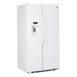 """GE - GSE26GGEWW 36"""" 25.9 Cu. Ft. Side-by-Side Refrigerator with Water/Ice Dispenser - Your GE refrigerator is the largest and most visible appliance in your kitchen so it has to look great As trends in kitchen dcor change so must refrigerators Fortunately GE is a leader in refrigerator style and design And with GE you never sacrifice ..."""