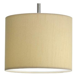 "Progress Lighting - Progress Lighting P8821-01 Chloe 1 Light Mini Pendant in Beige Silken Fabric P88 - Modular pendant system. Choose shade and 1-light stem (P5198) to make complete fixture. 10"" Drum Shade with Beige Silken Fabric inspired by mid-century design.Bulb Type: Medium Collection: Markor Energy Star Compliant: No Finish: Beige Silken Fabric Height: 8"" Lamp Wattage: 100W max Number of Lights: 1 Pendant Type: Mini Type: Ceiling Pendant Weight: 2 Width: 10""Must be used with P5198 to make a complete unit"