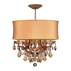 Crystorama - Crystorama Brentwood 2 Tier Chandelier in Antique Brass - Shown in picture: Antique Brass Maria Theresa Chandelier Draped in Golden Teak Swarovski Elements Crystal and accented with a Harvest Gold Shade.; This isn't your Grandmother's crystal. The Brentwood Collection from Crystorama offers a nice mix of traditional lighting designs with large tailored encompassing shades. Adding either the Harvest Gold or the Antique White shade to these best selling skus opens the door to possibilities for these designer friendly chandeliers. The Brentwood Collection has a touch of design flair that will work for your traditional or transitional home.