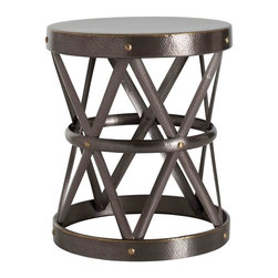 Kathy Kuo Home - Costello Dark Brass Hammered Metal Open Accent Side Table- Large - Evoking the classic form of a drum, yet crafted in a dark antique brass finish, this coffee table elevates a rustic classic to new heights.  Definitely modern and certainly bold, this piece would be particularly noteworthy in industrial and vintage influenced spaces.