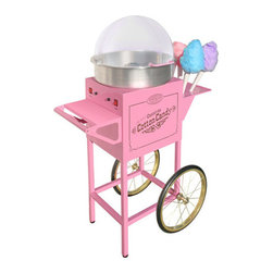 "Nostalgia Electrics - Vintage Commercial Cotton Candy Machine - Features: -Candy machine.-Handy side rack holds six cones.-Two switches on the unit; the heat switch turns the heating element, the main switch turn motor on and off.-Approved for commercial use.-Collection: Vintage Collection.-Distressed: No.-Product Type: Cotton Candy Machine.-Color: Pink.-Powder Coated Finish: No.-Gloss Finish: No.-Weather Resistant: No.-Water Resistant: No.-Scratch Resistant: No.-Heat Resistant: No.-Electric: Yes -Wattage: 700 W.-Voltage: 120 V.-Power Cord Storage: No..-Batteries Required: No.-Cones Included: Yes -Cone Material: Plastic.-Number of Cones Included: 6.-Reusable Cones: Yes..-Cone Holder: No.-Candy Consistency: Powder.-Hard Candy Compatible: No.-Coin Operated: No.-Sugar/Candy Included: No.-Instruction Manual: Yes.-Storage Container: No.-Warm Up Time: 5 minutes.-Commercial Use: Yes.Dimensions: -Overall Height - Top to Bottom: 50.5"".-Overall Width - Side to Side: 18.5"".-Overall Depth - Front to Back: 34"".-Overall Product Weight: 81.5 lbs.Assembly: -Assembly Required: No."