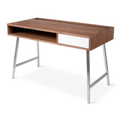 Gus Modern - Junction Desk - The Junction Desk by Gus Modern is a minimalist design that's well suited for home office or open-concept living. The open storage compartment can be used to store books and magazines, or as a handy spot to charge electronic devices. The writing surface has an open trough at the back to hold stationary or to attractively store and display books or artwork. Concealed, brushed metal fittings enable seamless cord management. The single push-to-open drawer stores essential office supplies and clutter.