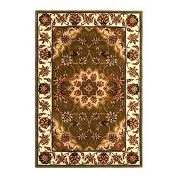 Safavieh - Green and Ivory Wool and Silk Border Rug (4 ft. x 6 ft.) - Size: 4 ft. x 6 ft. Hand tufted. Made of Wool and Silk. Traditions rugs feature all the components needed for heirloom styling. Our green and ivory selection begins with a medallion at the center surrounded by smaller blooms and vines.