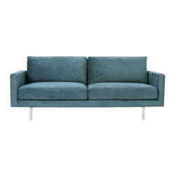 Gus Modern - Bloor Sofa by Gus Modern - From the front, the Gus Modern Bloor Sofa shows off a classic two-over-two design paired with slender arms and an elevated stainless steel base. Then, from the back, the truss-style base remains exposed to provide external support and a striking aesthetic. Smooth polyester upholstery covers the plush feather-blend cushions and 100% FSC-certified wood frame. Mid-century modern design interpreted with an industrial edge. Such is the modis operandi of Gus* Modern. Every accessory, sofa, sectional, chair and table they design is inspired by simple forms and honest materials. The resulting modern furniture pieces are clean, elegant and versatile, with crisply tailored upholstery and solid, eco-friendly FSC-certified wood frames. Founded in 2000, Gus* Modern is based in Toronto, Ontario, Canada.