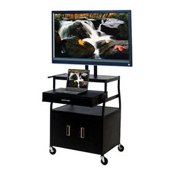"VTI - VTI Wide Body 52"" Flat Panel TV Cart with Front/Back Cabinet and Drawer - VTI - TV Carts - FDCAB4418E - Everything is ready for your presentations with the mobile 52 Flat Panel TV Cart. There is plenty of storage for additional documentation for your presentations and sitting on 4 lockable casters you can easily move the cart to the ideal presentation location."