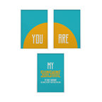 You are my sunshine nursery wall art set of three prints, 20x24 - you are my sunshine- so many of my smiles begin with you-you make me happy when skies are gray nursery art set.