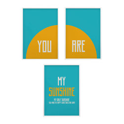 'You Are My Sunshine' Nursery Wall Art, Set of 3 - you are my sunshine- so many of my smiles begin with you-you make me happy when skies are gray nursery art set.