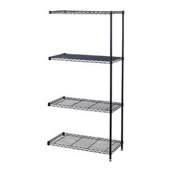 "Safco - Safco 36"" x 18"" Industrial Add-On Unit - Safco - Wire Storage - 5286BL - Use with Model 5285. Add-on unit attaches to existing wire shelving to form a continuous shelving unit for corner applications. Kit includes four shelves two posts and snap-together clips. Strong welded wire construction. Shelves adjust in 1"" increments and assemble in minutes without tools. Each shelf holds up to 1250 lbs. (with weight evenly distributed). Available in Black or Metallic Gray powder coat finish."