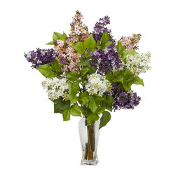 """Nearly Natural - Lilac Silk Flower Arrangement - Lilacs are amongst the most colorful of flowers, and we've captured that perfectly with this """"nearly natural"""" re-creation of lilacs in full bloom. Yes, you won't be able to smell them, but they look so perfectly real, with delicate, colorful petals adorning stout branches with green leaves, that you won't mind one bit. This colorful collection is gathered in a glass vase with liquid illusion, making it the perfect adornment for a table, counter, or desk."""