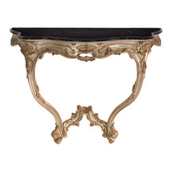 """Inviting Home - Venetian Style Console Table - 18th century Venetian style carved wood console with distressed silver finish and black Marquina marble top. Must be attached to the wall 43""""W x 18-1/4""""D x 33-3/4"""" H hand-made in Italy 18th century Venetian style carved wood console table. Venetian console has distressed silver finish and black Marquina marble top. Must be attached to the wall. This console table is hand made in Italy."""