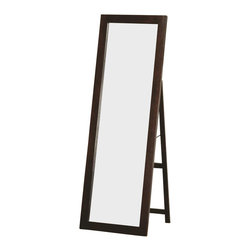 Coaster - Coaster Ventura Standing Floor Mirror Rich Dark Cappuccino Finish - Coaster - Mirrors - 300004 - This standing floor mirror features clean lines and a smooth dark cappuccino finished frame for a sleek contemporary style. The piece is made of select hardwoods and wood veneers for sturdy construction and a long life. Add this functional mirror to your master bedroom to help you get ready in the morning and create more light in your space.